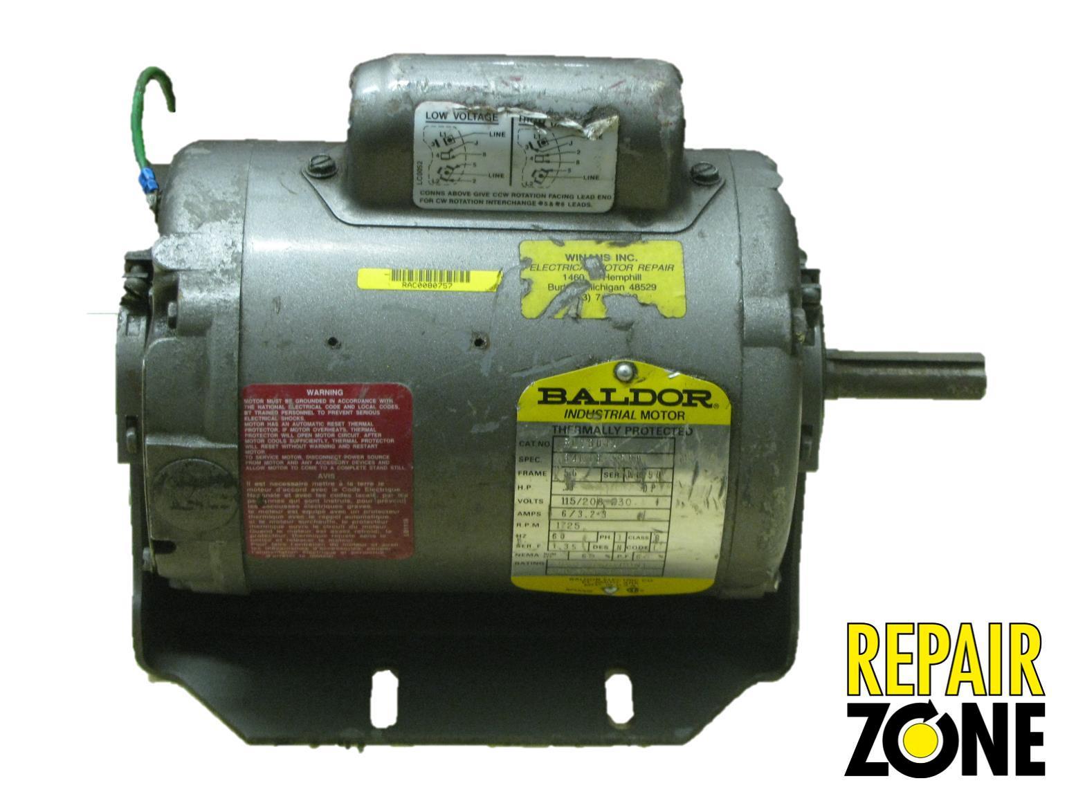 Rl1301a baldor single phase motor liquidation for Baldor single phase motor